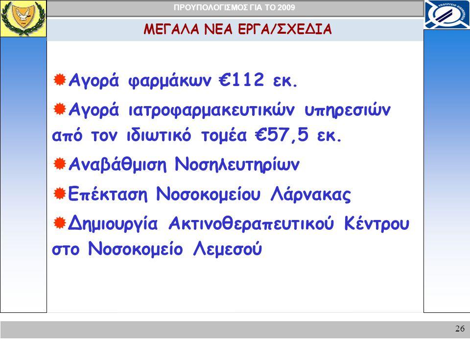 ΠΡΟΥΠΟΛΟΓΙΣΜΟΣ ΓΙΑ ΤΟ 2009 26 ΜΕΓΑΛΑ ΝΕΑ ΕΡΓΑ/ΣΧΕΔΙΑ  Αγορά φαρμάκων €112 εκ.