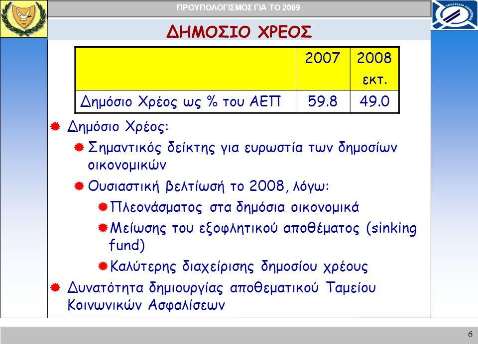 ΠΡΟΥΠΟΛΟΓΙΣΜΟΣ ΓΙΑ ΤΟ 2009 7 ΥΛΟΠΟΙΗΣΗ ΠΡΟΓΡΑΜΜΑΤΟΣ ΠΡΟΕΔΡΟΥ Το Πρόγραμμα του Προέδρου άρχισε να υλοποιείται μέσα στο 2008:  Κοινωνικό κράτος  Παραχώρηση πασχαλινού επιδόματος (€35 εκ).