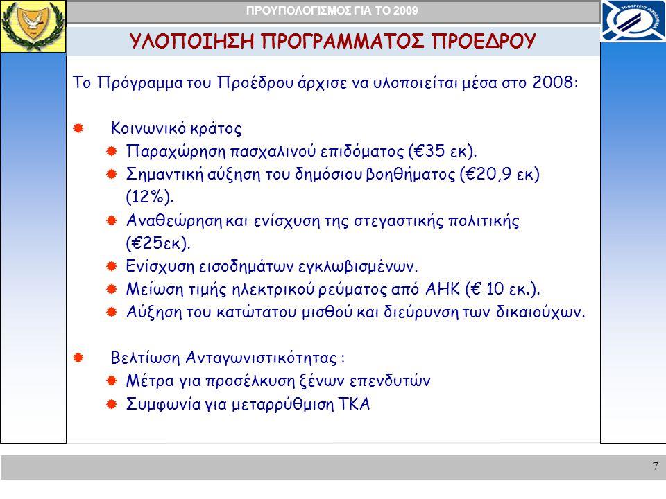 ΠΡΟΥΠΟΛΟΓΙΣΜΟΣ ΓΙΑ ΤΟ 2009 28 ΜΕΓΑΛΑ ΝΕΑ ΕΡΓΑ/ΣΧΕΔΙΑ Ανέγερση/Επέκταση κτιρίων :  Φυλακών  Αστυνομίας  Πυροσβεστική  Αγορά Ελικοπτέρων  Σύστημα Φωτοεπισήμανσης  Αυξημένη Χορηγία προς τους Δήμους και Κοινότητες κατά €20 εκ.