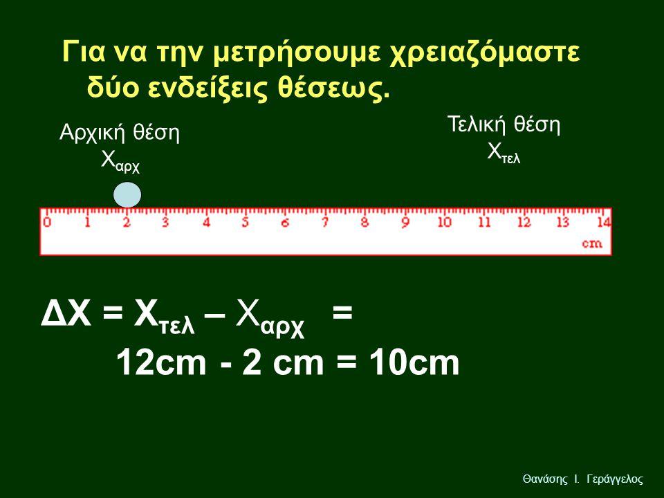 Θανάσης Ι. Γεράγγελος Για να την μετρήσουμε χρειαζόμαστε δύο ενδείξεις θέσεως. Αρχική θέση Χ αρχ Τελική θέση Χ τελ ΔΧ = Χ τελ – Χ αρχ = 12cm - 2 cm =
