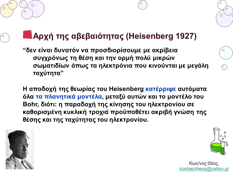 """Κων/νος Θέος, kostasctheos@yahoo.gr kostasctheos@yahoo.gr Αρχή της αβεβαιότητας (Heisenberg 1927) """"δεν είναι δυνατόν να προσδιορίσουμε με ακρίβεια συγ"""