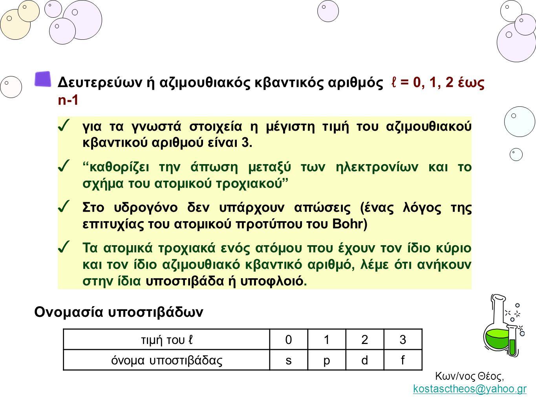 """Κων/νος Θέος, kostasctheos@yahoo.gr kostasctheos@yahoo.gr ✓ για τα γνωστά στοιχεία η μέγιστη τιμή του αζιμουθιακού κβαντικού αριθμού είναι 3. ✓ """"καθορ"""