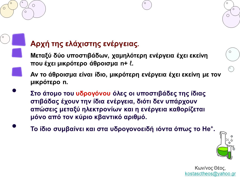 Κων/νος Θέος, kostasctheos@yahoo.gr kostasctheos@yahoo.gr Αρχή της ελάχιστης ενέργειας. Μεταξύ δύο υποστιβάδων, χαμηλότερη ενέργεια έχει εκείνη που έχ