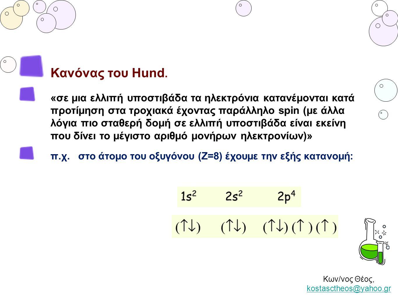 Κων/νος Θέος, kostasctheos@yahoo.gr kostasctheos@yahoo.gr Κανόνας του Hund. «σε μια ελλιπή υποστιβάδα τα ηλεκτρόνια κατανέμονται κατά προτίμηση στα τρ