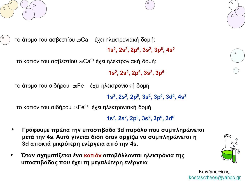 Κων/νος Θέος, kostasctheos@yahoo.gr kostasctheos@yahoo.gr το άτομο του ασβεστίου 20 Ca έχει ηλεκτρονιακή δομή: 1s 2, 2s 2, 2p 6, 3s 2, 3p 6, 4s 2 το ά