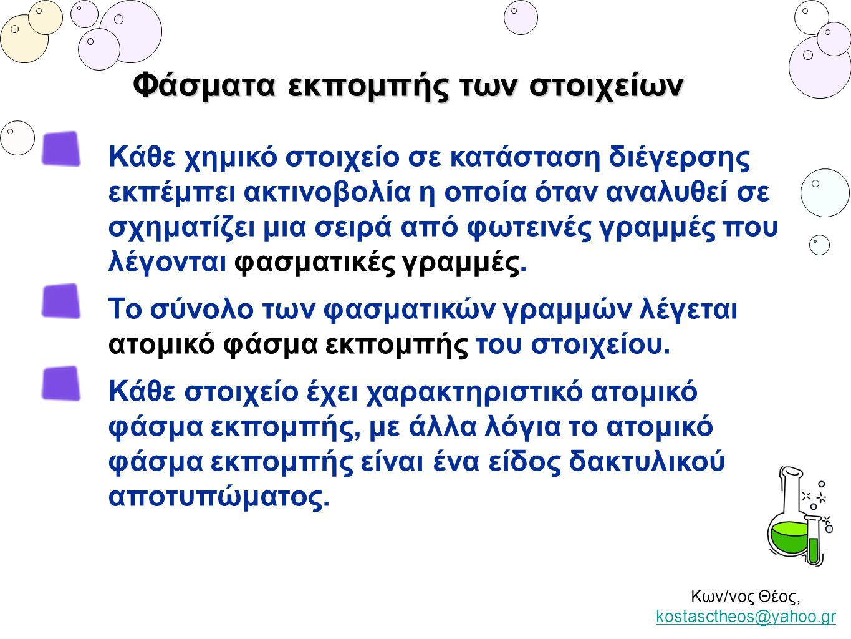 Κων/νος Θέος, kostasctheos@yahoo.gr kostasctheos@yahoo.gr Φάσματα εκπομπής των στοιχείων Κάθε χημικό στοιχείο σε κατάσταση διέγερσης εκπέμπει ακτινοβο
