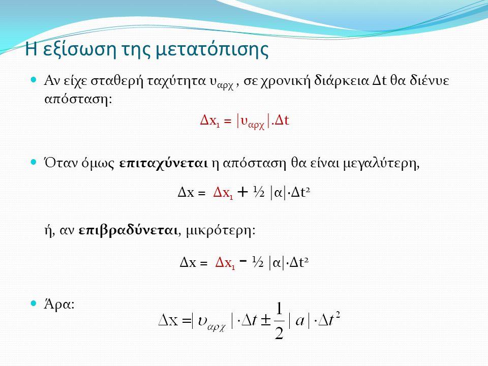 Η εξίσωση της μετατόπισης Αν είχε σταθερή ταχύτητα υ αρχ, σε χρονική διάρκεια Δt θα διένυε απόσταση: Δx 1 = |υ αρχ |.Δt Όταν όμως επιταχύνεται η απόσταση θα είναι μεγαλύτερη, Δx = Δx 1 + ½ |α|·Δt 2 ή, αν επιβραδύνεται, μικρότερη: Δx = Δx 1 - ½ |α|·Δt 2 Άρα: