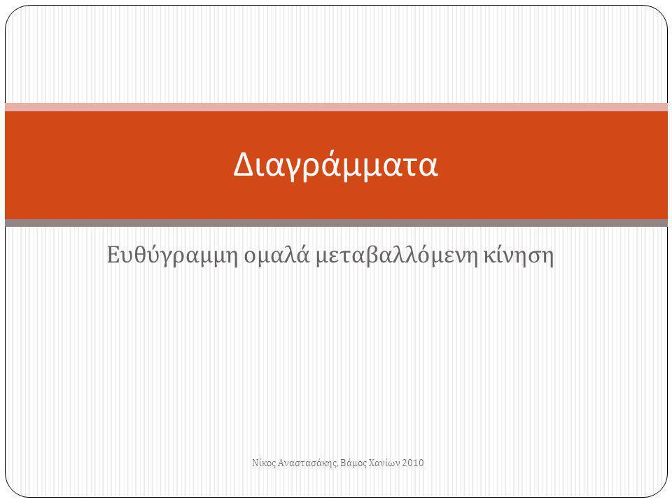 Ευθύγραμμη ομαλά μεταβαλλόμενη κίνηση Διαγράμματα Νίκος Αναστασάκης, Βάμος Χανίων 2010