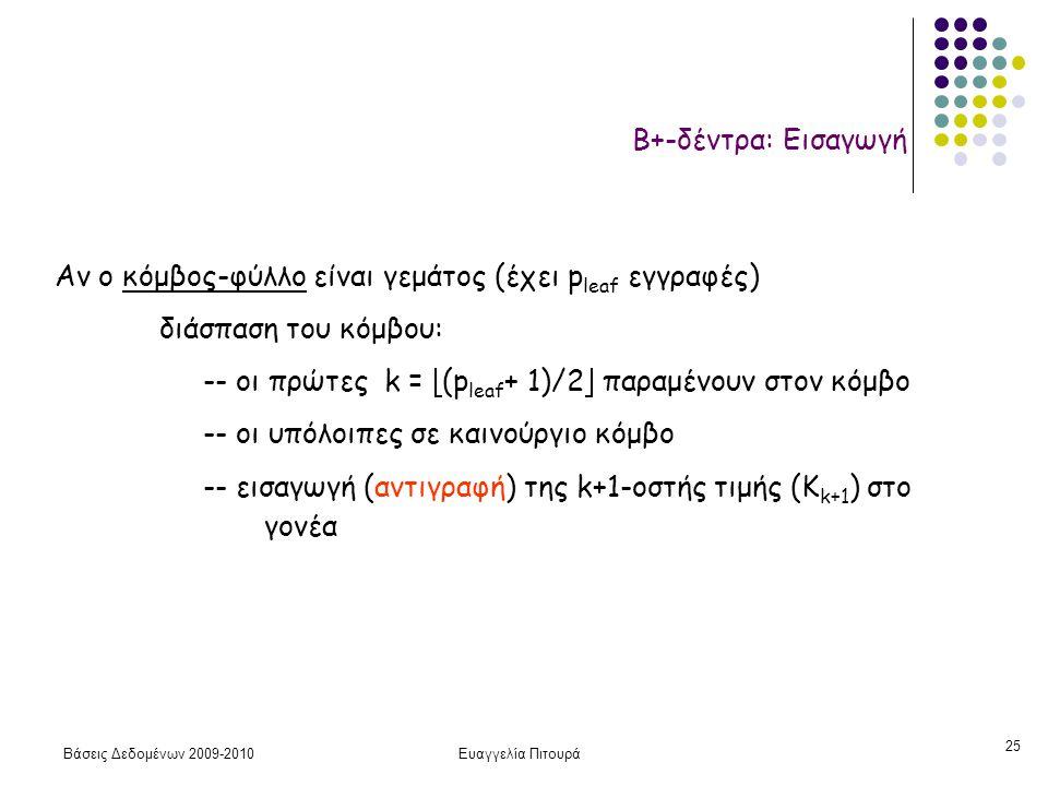 Βάσεις Δεδομένων 2009-2010Ευαγγελία Πιτουρά 25 Β+-δέντρα: Εισαγωγή Αν ο κόμβος-φύλλο είναι γεμάτος (έχει p leaf εγγραφές) διάσπαση του κόμβου: -- οι πρώτες k =  (p leaf + 1)/2  παραμένουν στον κόμβο -- οι υπόλοιπες σε καινούργιο κόμβο -- εισαγωγή (αντιγραφή) της k+1-οστής τιμής (K k+1 ) στο γονέα