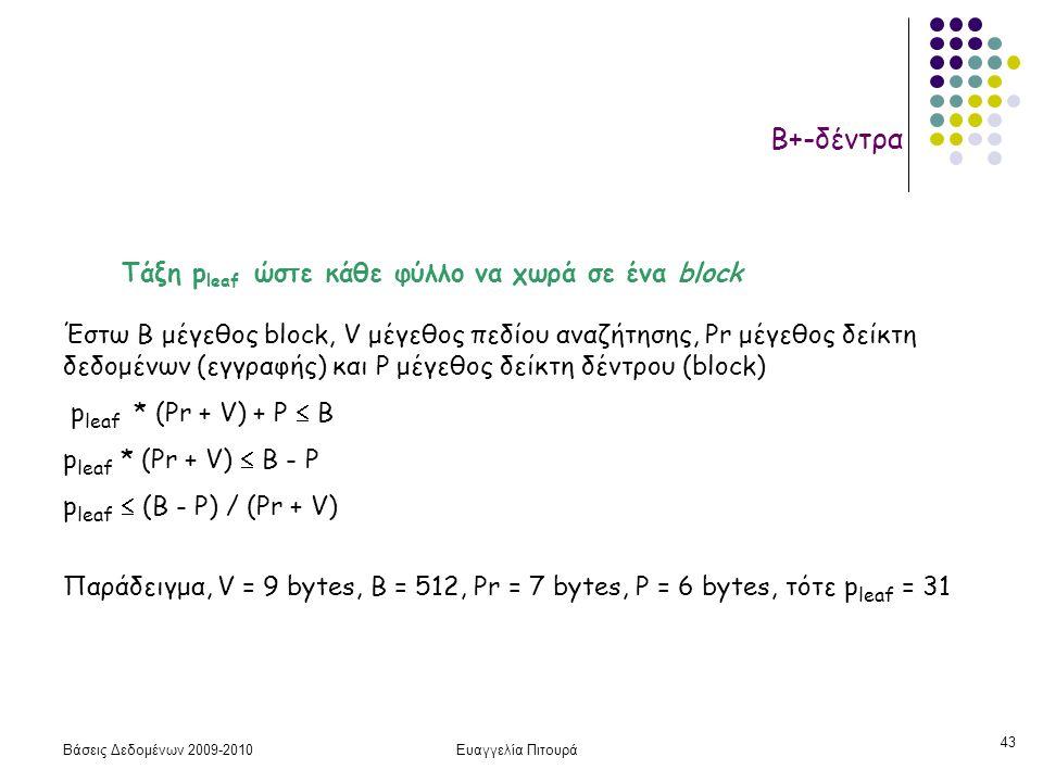 Βάσεις Δεδομένων 2009-2010Ευαγγελία Πιτουρά 43 Β+-δέντρα Τάξη p leaf ώστε κάθε φύλλο να χωρά σε ένα block Έστω Β μέγεθος block, V μέγεθος πεδίου αναζήτησης, Pr μέγεθος δείκτη δεδομένων (εγγραφής) και P μέγεθος δείκτη δέντρου (block) p leaf * (Pr + V) + P  B p leaf * (Pr + V)  B - P p leaf  (B - P) / (Pr + V) Παράδειγμα, V = 9 bytes, B = 512, Pr = 7 bytes, P = 6 bytes, τότε p leaf = 31