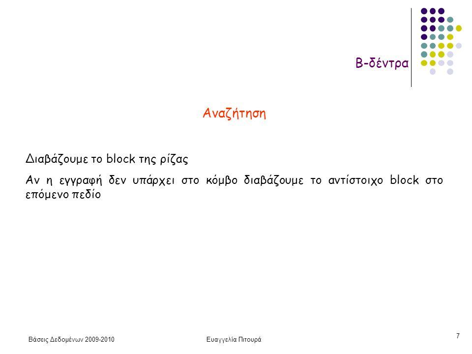 Βάσεις Δεδομένων 2009-2010Ευαγγελία Πιτουρά 7 Β-δέντρα Αναζήτηση Διαβάζουμε το block της ρίζας Αν η εγγραφή δεν υπάρχει στο κόμβο διαβάζουμε το αντίστοιχο block στο επόμενο πεδίο