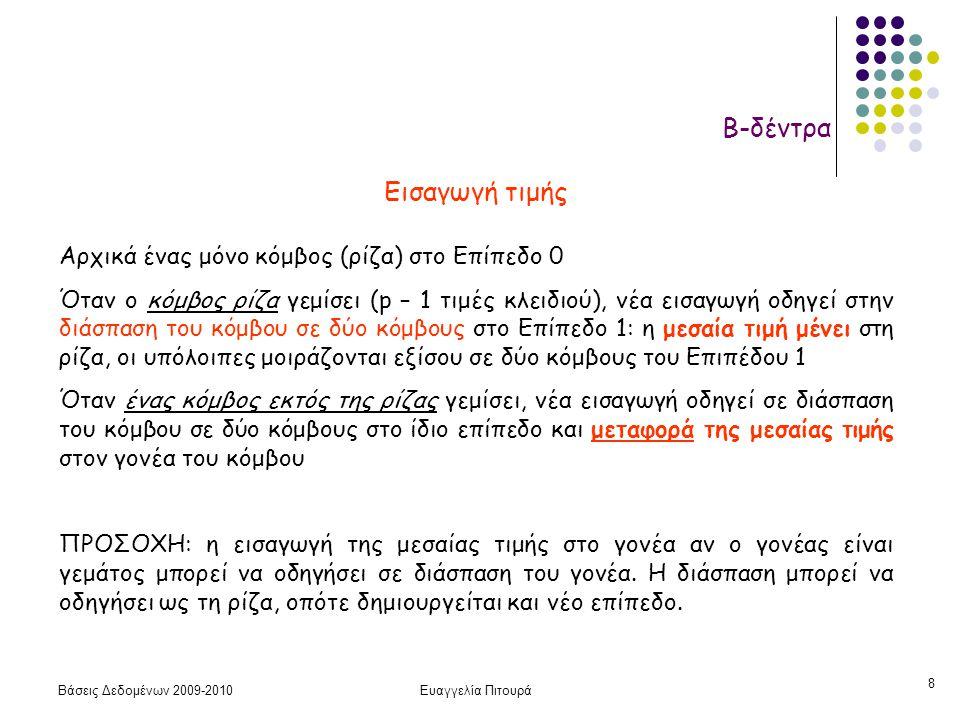 Βάσεις Δεδομένων 2009-2010Ευαγγελία Πιτουρά 8 Β-δέντρα Εισαγωγή τιμής Αρχικά ένας μόνο κόμβος (ρίζα) στο Επίπεδο 0 Όταν ο κόμβος ρίζα γεμίσει (p – 1 τιμές κλειδιού), νέα εισαγωγή οδηγεί στην διάσπαση του κόμβου σε δύο κόμβους στο Επίπεδο 1: η μεσαία τιμή μένει στη ρίζα, οι υπόλοιπες μοιράζονται εξίσου σε δύο κόμβους του Επιπέδου 1 Όταν ένας κόμβος εκτός της ρίζας γεμίσει, νέα εισαγωγή οδηγεί σε διάσπαση του κόμβου σε δύο κόμβους στο ίδιο επίπεδο και μεταφορά της μεσαίας τιμής στον γονέα του κόμβου ΠΡΟΣΟΧΗ: η εισαγωγή της μεσαίας τιμής στο γονέα αν ο γονέας είναι γεμάτος μπορεί να οδηγήσει σε διάσπαση του γονέα.