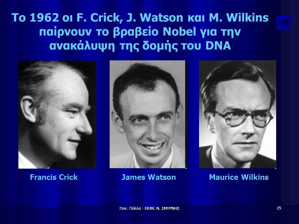 Παν. Πάλλα - ΕΚΦΕ Ν. ΣΜΥΡΝΗΣ 25 Το 1962 οι F. Crick, J. Watson και M. Wilkins παίρνουν το βραβείο Nobel για την ανακάλυψη της δομής του DNA Francis Cr