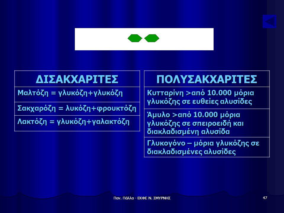 Παν. Πάλλα - ΕΚΦΕ Ν. ΣΜΥΡΝΗΣ 47 ΔΙΣΑΚΧΑΡΙΤΕΣ Μαλτόζη = γλυκόζη+γλυκόζη Σακχαρόζη = λυκόζη+φρουκτόζη Λακτόζη = γλυκόζη+γαλακτόζη ΠΟΛΥΣΑΚΧΑΡΙΤΕΣ Κυτταρί