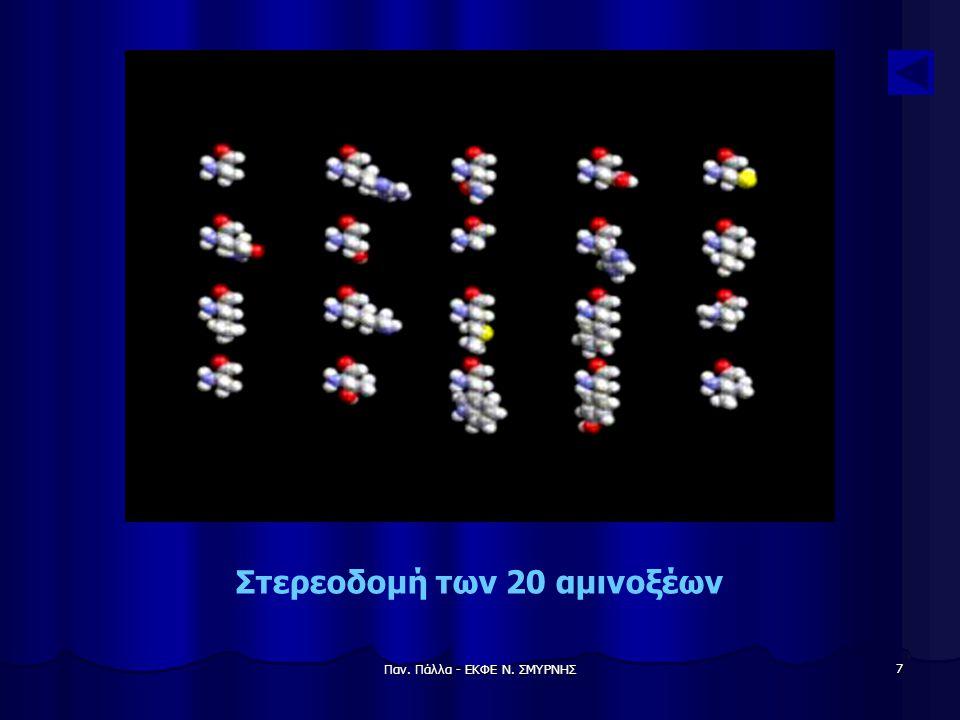 Παν. Πάλλα - ΕΚΦΕ Ν. ΣΜΥΡΝΗΣ 8 Χημικοί τύποι των 20 αμινοξέων
