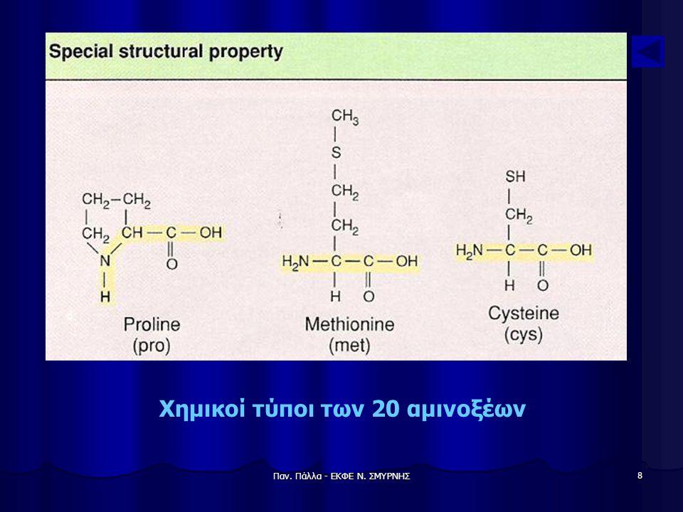 Παν. Πάλλα - ΕΚΦΕ Ν. ΣΜΥΡΝΗΣ 9 Χημικοί τύποι των 20 αμινοξέων