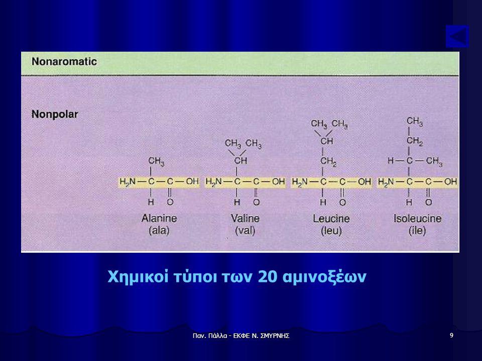 Παν. Πάλλα - ΕΚΦΕ Ν. ΣΜΥΡΝΗΣ 10 Χημικοί τύποι των 20 αμινοξέων