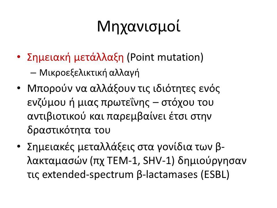 Μηχανισμοί Σημειακή μετάλλαξη (Point mutation) – Μικροεξελικτική αλλαγή Μπορούν να αλλάξουν τις ιδιότητες ενός ενζύμου ή μιας πρωτεΐνης – στόχου του α