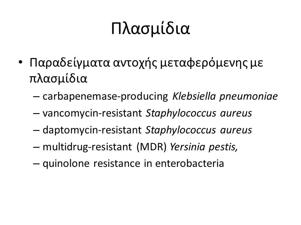 Πλασμίδια Παραδείγματα αντοχής μεταφερόμενης με πλασμίδια – carbapenemase-producing Klebsiella pneumoniae – vancomycin-resistant Staphylococcus aureus