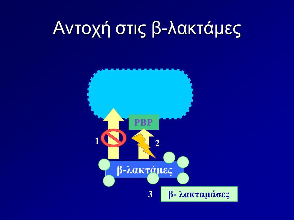 Αντοχή στις β-λακτάμες PBP β-λακτάμες 1 2 3 β- λακταμάσες