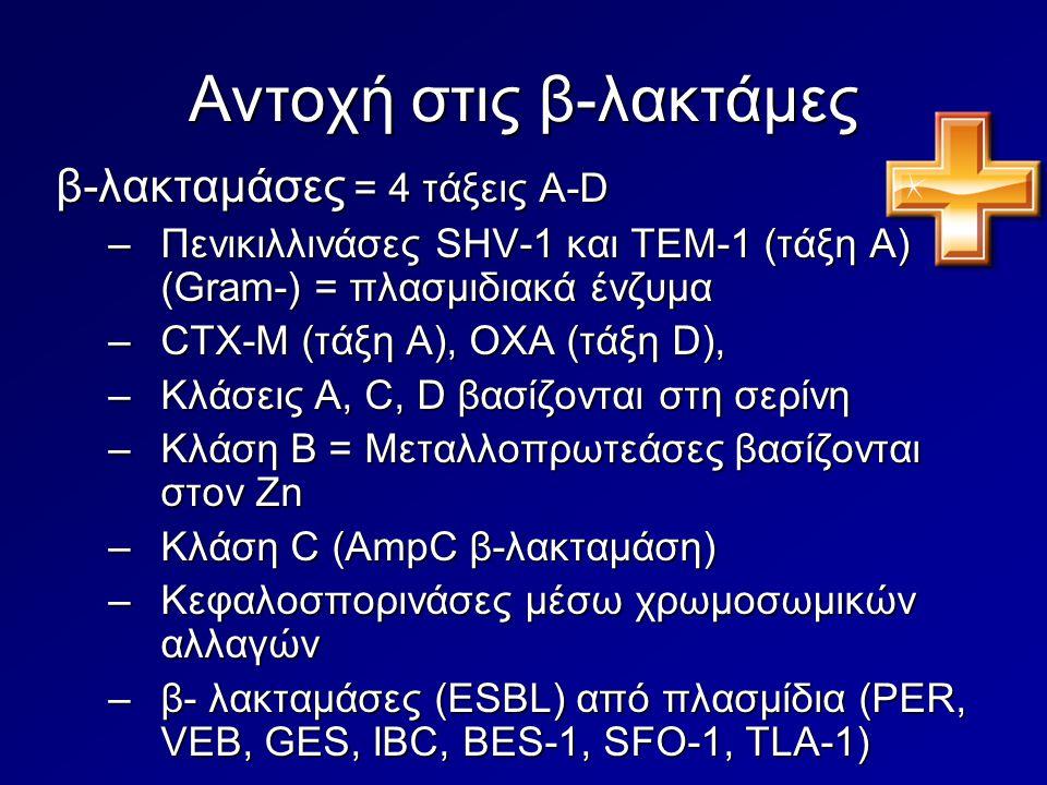 Αντοχή στις β-λακτάμες β-λακταμάσες = 4 τάξεις A-D –Πενικιλλινάσες SHV-1 και TEM-1 (τάξη Α) (Gram-) = πλασμιδιακά ένζυμα –CTX-M (τάξη Α), OXA (τάξη D)