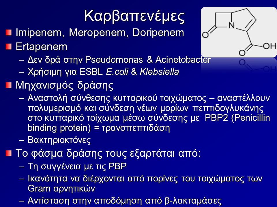 Καρβαπενέμες Imipenem, Meropenem, Doripenem Ertapenem –Δεν δρά στην Pseudomonas & Acinetobacter –Χρήσιμη για ESBL E.coli & Klebsiella Μηχανισμός δράση