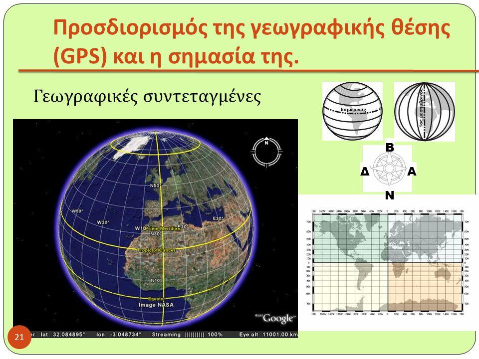 Προσδιορισμός της γεωγραφικής θέσης (GPS) και η σημασία της. Γεωγραφικές συντεταγμένες Β Ν ΑΔ 21