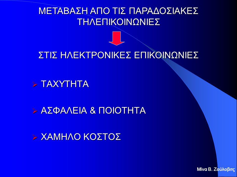  ΤΑΧΥΤΗΤΑ  ΑΣΦΑΛΕΙΑ & ΠΟΙΟΤΗΤΑ  ΧΑΜΗΛΟ ΚΟΣΤΟΣ Μίνα Β. Ζούλοβιτς ΜΕΤΑΒΑΣΗ ΑΠΟ ΤΙΣ ΠΑΡΑΔΟΣΙΑΚΕΣ ΤΗΛΕΠΙΚΟΙΝΩΝΙΕΣ ΣΤΙΣ ΗΛΕΚΤΡΟΝΙΚΕΣ ΕΠΙΚΟΙΝΩΝΙΕΣ