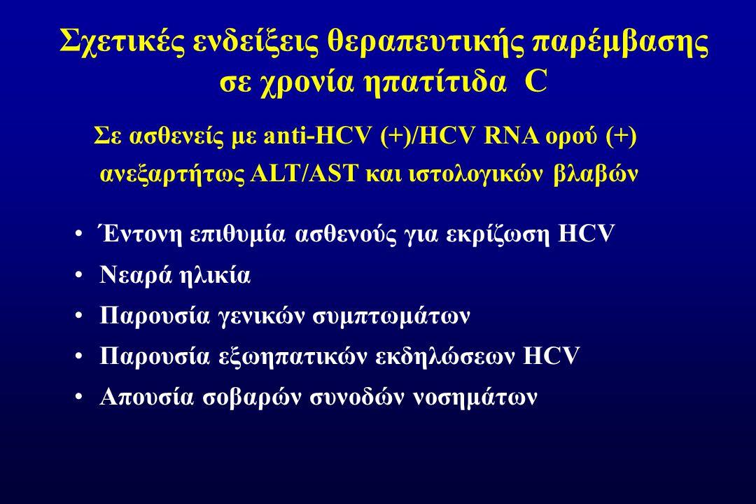 Σχετικές ενδείξεις θεραπευτικής παρέμβασης σε χρονία ηπατίτιδα C Σε ασθενείς με anti-ΗCV (+)/HCV RNA ορού (+) ανεξαρτήτως ALT/AST και ιστολογικών βλαβών Έντονη επιθυμία ασθενούς για εκρίζωση HCV Νεαρά ηλικία Παρουσία γενικών συμπτωμάτων Παρουσία εξωηπατικών εκδηλώσεων HCV Aπουσία σοβαρών συνοδών νοσημάτων