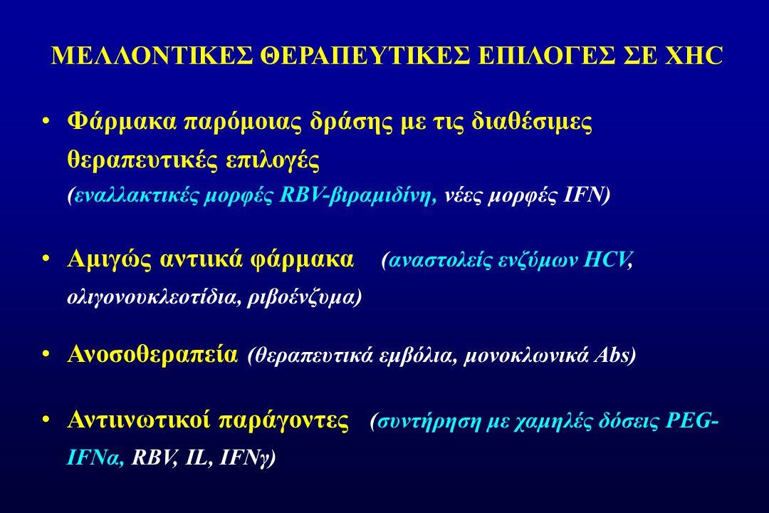ΜΕΛΛΟΝΤΙΚΕΣ ΘΕΡΑΠΕΥΤΙΚΕΣ ΕΠΙΛΟΓΕΣ ΣΕ ΧΗC Φάρμακα παρόμοιας δράσης με τις διαθέσιμες θεραπευτικές επιλογές (εναλλακτικές μορφές RBV-βιραμιδίνη, νέες μορφές IFN) Αμιγώς αντιικά φάρμακα (αναστολείς ενζύμων HCV, ολιγονουκλεοτίδια, ριβοένζυμα) Ανοσοθεραπεία (θεραπευτικά εμβόλια, μονοκλωνικά Abs) Αντιινωτικοί παράγοντες (συντήρηση με χαμηλές δόσεις PEG- IFNα, RΒV, IL, IFNγ)