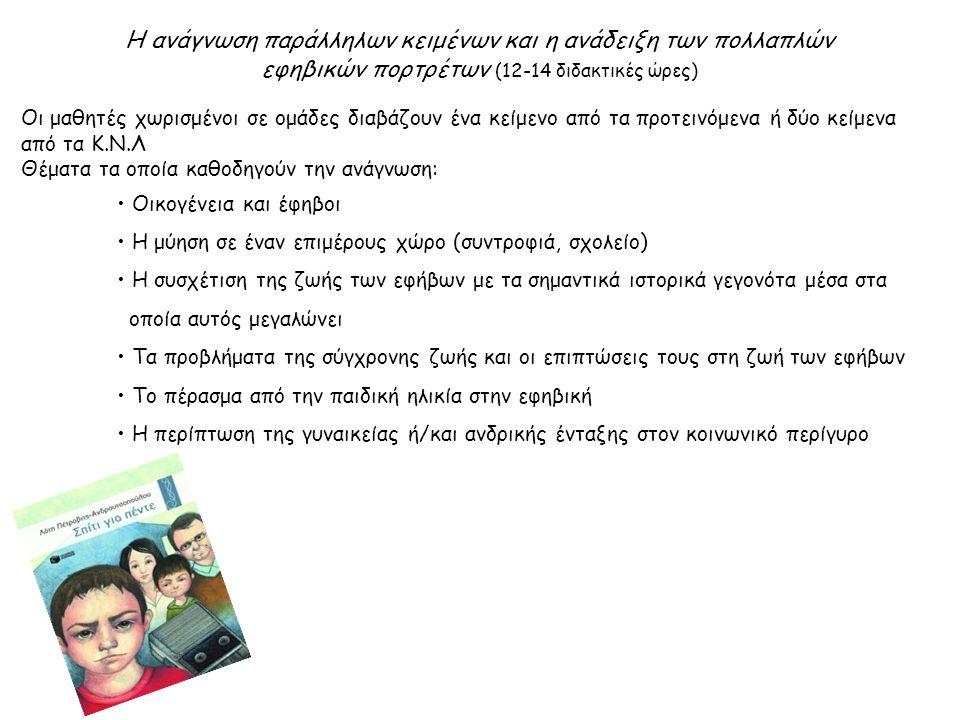 Η ανάγνωση παράλληλων κειμένων και η ανάδειξη των πολλαπλών εφηβικών πορτρέτων (12-14 διδακτικές ώρες) Οι μαθητές χωρισμένοι σε ομάδες διαβάζουν ένα κείμενο από τα προτεινόμενα ή δύο κείμενα από τα Κ.Ν.Λ Θέματα τα οποία καθοδηγούν την ανάγνωση: Οικογένεια και έφηβοι Η μύηση σε έναν επιμέρους χώρο (συντροφιά, σχολείο) Η συσχέτιση της ζωής των εφήβων με τα σημαντικά ιστορικά γεγονότα μέσα στα οποία αυτός μεγαλώνει Τα προβλήματα της σύγχρονης ζωής και οι επιπτώσεις τους στη ζωή των εφήβων Το πέρασμα από την παιδική ηλικία στην εφηβική Η περίπτωση της γυναικείας ή/και ανδρικής ένταξης στον κοινωνικό περίγυρο