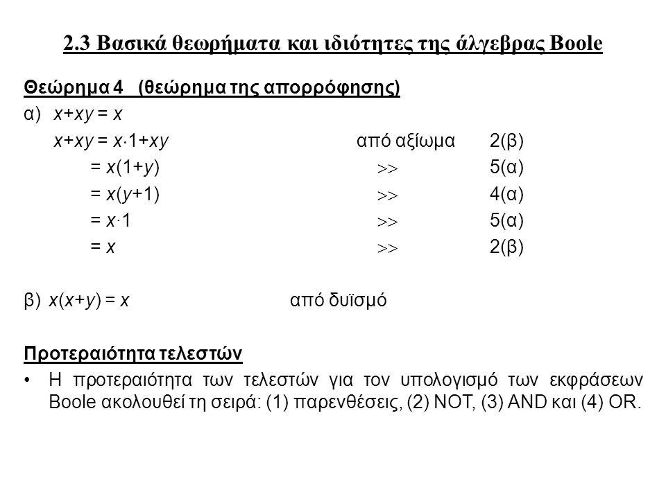 2.3 Βασικά θεωρήματα και ιδιότητες της άλγεβρας Boole Θεώρημα 4 (θεώρημα της απορρόφησης) α) x+xy = x x+xy = x  1+xyαπό αξίωμα 2(β) = x(1+y)  5(α) = x(y+1)  4(α) = x∙1  5(α) = x  2(β) β) x(x+y) = xαπό δυϊσμό Προτεραιότητα τελεστών Η προτεραιότητα των τελεστών για τον υπολογισμό των εκφράσεων Boole ακολουθεί τη σειρά: (1) παρενθέσεις, (2) NOT, (3) AND και (4) OR.