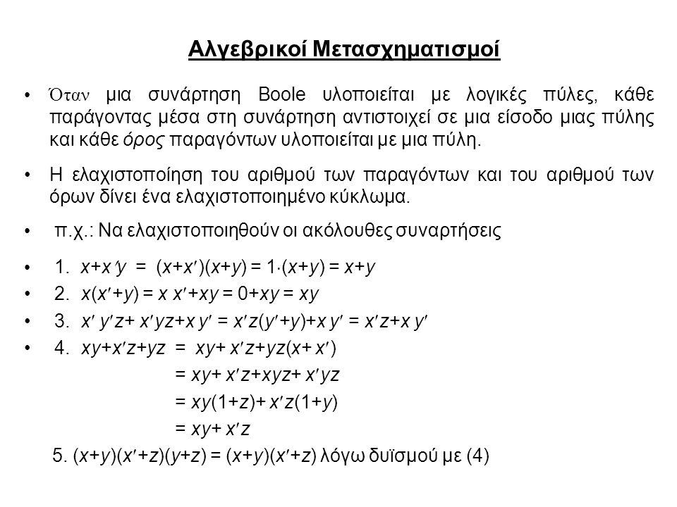 Αλγεβρικοί Μετασχηματισμοί Όταν μια συνάρτηση Boole υλοποιείται με λογικές πύλες, κάθε παράγοντας μέσα στη συνάρτηση αντιστοιχεί σε μια είσοδο μιας πύλης και κάθε όρος παραγόντων υλοποιείται με μια πύλη.