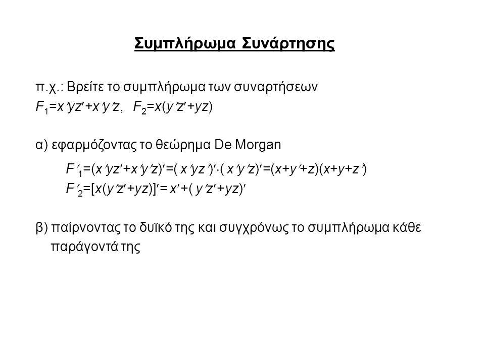 Συμπλήρωμα Συνάρτησης π.χ.: Βρείτε το συμπλήρωμα των συναρτήσεων F 1 =xyz+xyz, F 2 =x(yz+yz) α) εφαρμόζοντας το θεώρημα De Morgan F 1 =(xyz+xyz)=( xyz)  ( xyz)=(x+y+z)(x+y+z) F 2 =[x(yz+yz)]= x+( yz+yz) β) παίρνοντας το δυϊκό της και συγχρόνως το συμπλήρωμα κάθε παράγοντά της