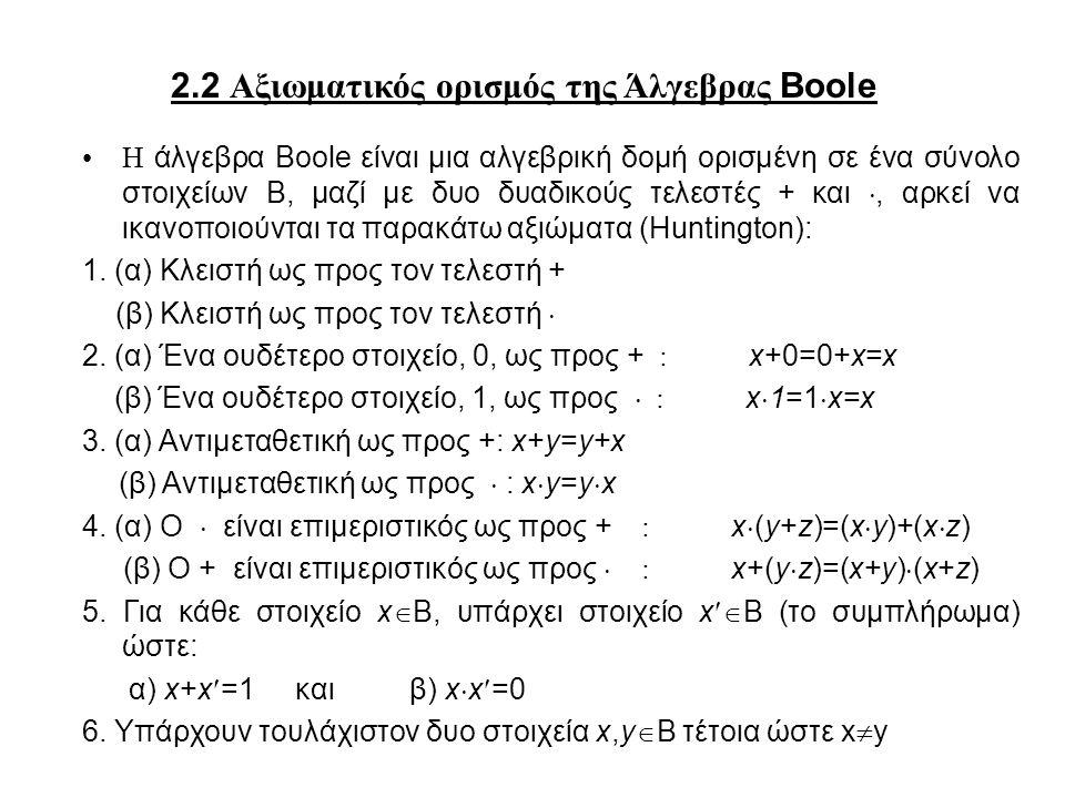 2.2 Αξιωματικός ορισμός της Άλγεβρας Boole Η άλγεβρα Boole είναι μια αλγεβρική δομή ορισμένη σε ένα σύνολο στοιχείων Β, μαζί με δυο δυαδικούς τελεστές + και , αρκεί να ικανοποιούνται τα παρακάτω αξιώματα (Huntington): 1.