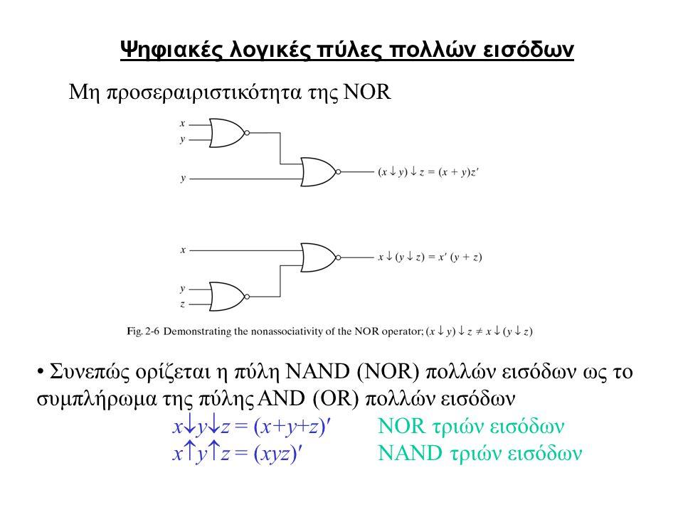 Συνεπώς ορίζεται η πύλη NAND (NOR) πολλών εισόδων ως το συμπλήρωμα της πύλης AND (OR) πολλών εισόδων x  y  z = (x+y+z)NOR τριών εισόδων x  y  z = (xyz)NAND τριών εισόδων Ψηφιακές λογικές πύλες πολλών εισόδων Μη προσεραιριστικότητα της NOR
