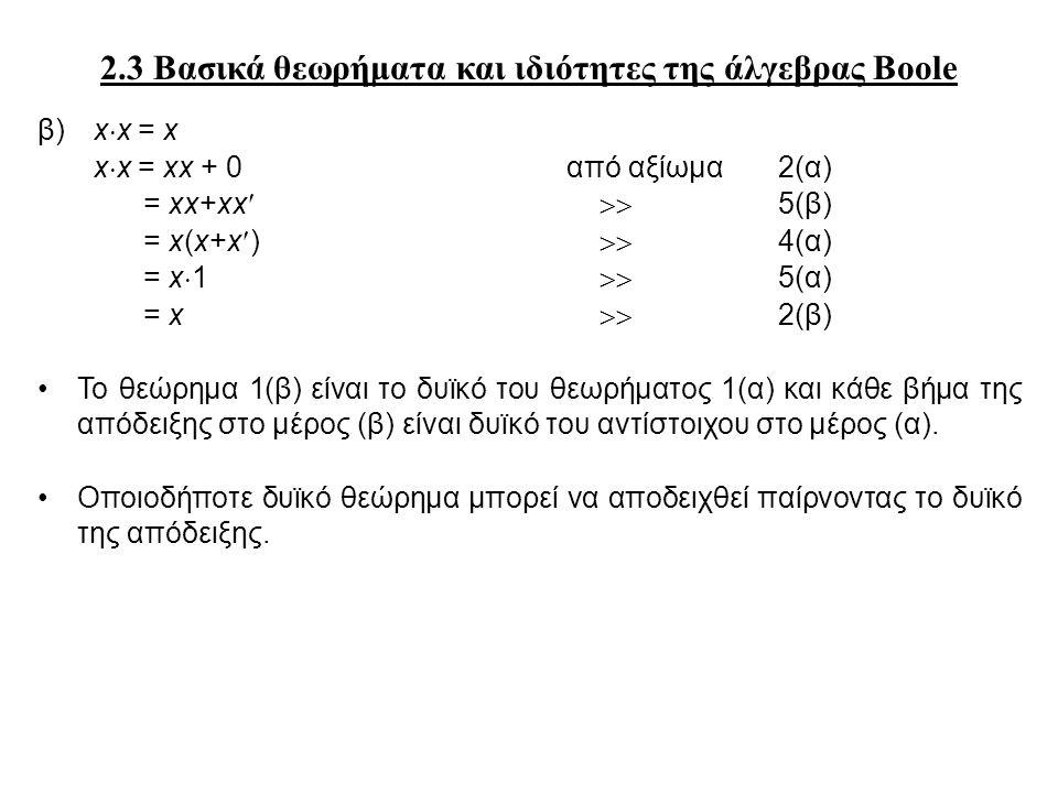 2.3 Βασικά θεωρήματα και ιδιότητες της άλγεβρας Boole β) x  x = x x  x = xx + 0από αξίωμα 2(α) = xx+xx  5(β) = x(x+x)  4(α) = x  1  5(α) = x  2(β) Το θεώρημα 1(β) είναι το δυϊκό του θεωρήματος 1(α) και κάθε βήμα της απόδειξης στο μέρος (β) είναι δυϊκό του αντίστοιχου στο μέρος (α).