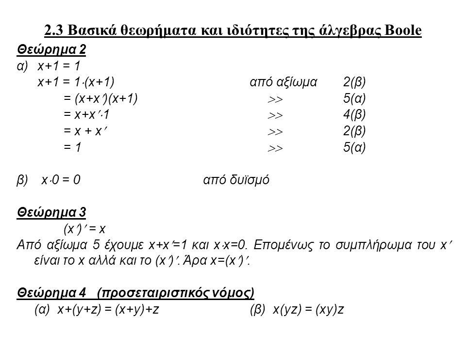 2.3 Βασικά θεωρήματα και ιδιότητες της άλγεβρας Boole Θεώρημα 2 α) x+1 = 1 x+1 = 1  (x+1)από αξίωμα 2(β) = (x+x)(x+1)  5(α) = x+x  1  4(β) = x + x  2(β) = 1  5(α) β) x  0 = 0από δυϊσμό Θεώρημα 3 (x) = x Από αξίωμα 5 έχουμε x+x=1 και x  x=0.
