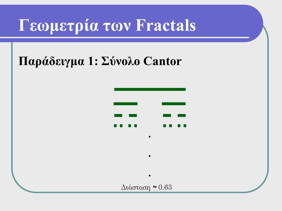 Γεωμετρία των Fractals Παράδειγμα 1: Σύνολο Cantor...... Διάσταση  0.63