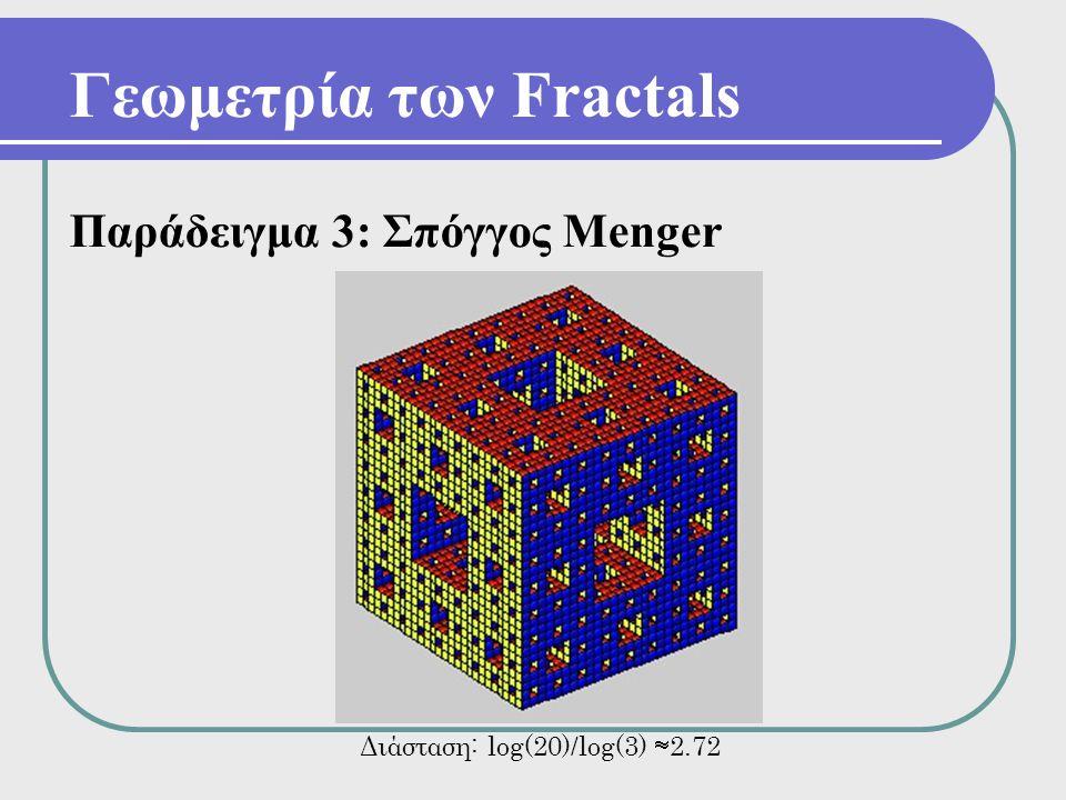 Γεωμετρία των Fractals Παράδειγμα 3: Σπόγγος Menger Διάσταση: log(20)/log(3)  2.72