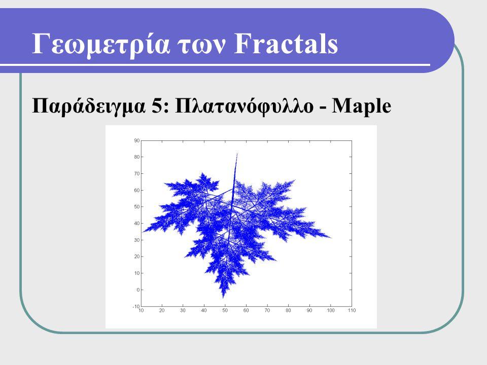 Γεωμετρία των Fractals Παράδειγμα 5: Πλατανόφυλλο - Maple