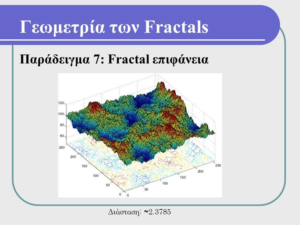 Γεωμετρία των Fractals Παράδειγμα 7: Fractal επιφάνεια Διάσταση:  2.3785