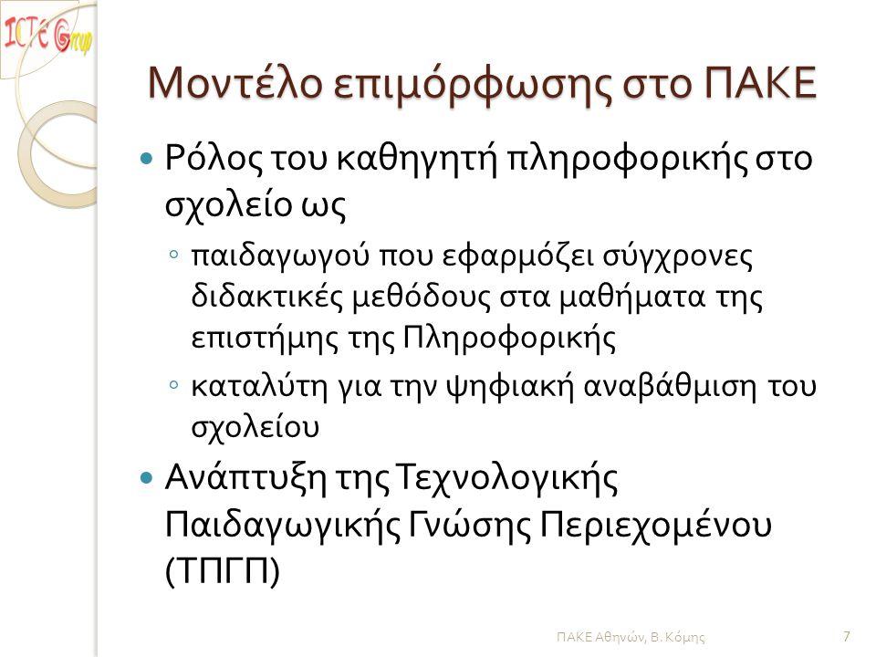Τεχνολογική Παιδαγωγική Γνώση Περιεχομένου ΠΑΚΕ Αθηνών, Β. Κόμης 8