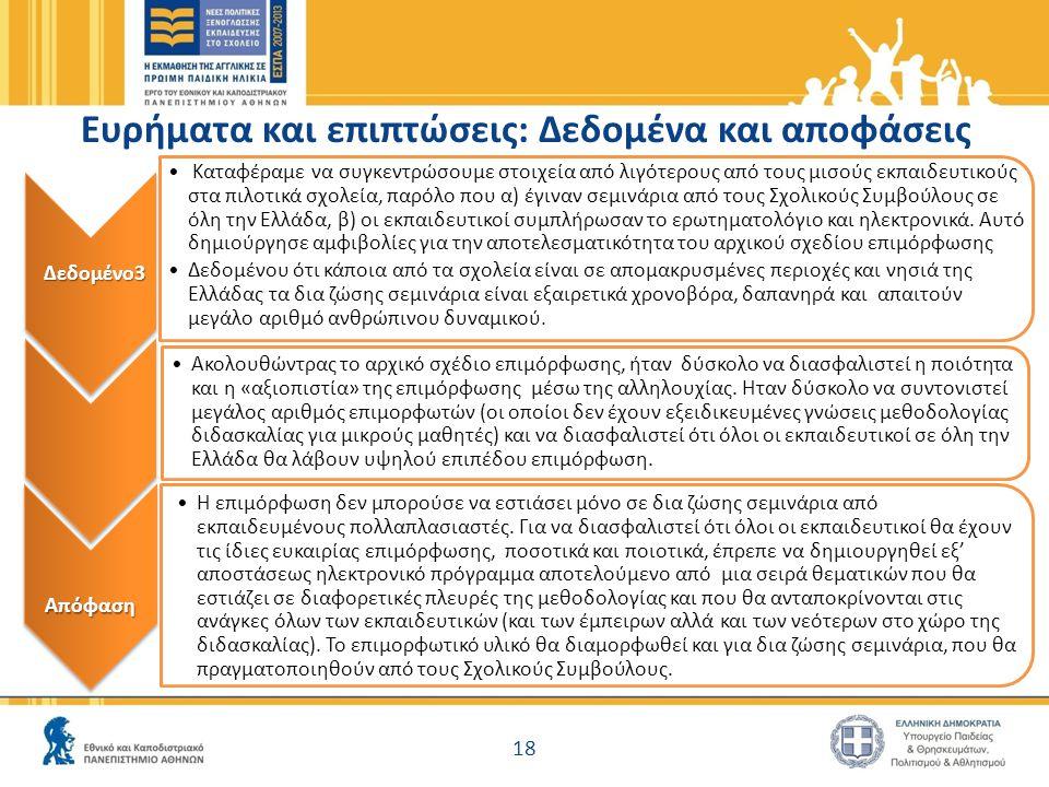 Δεδομένο3 Καταφέραμε να συγκεντρώσουμε στοιχεία από λιγότερους από τους μισούς εκπαιδευτικούς στα πιλοτικά σχολεία, παρόλο που α) έγιναν σεμινάρια από τους Σχολικούς Συμβούλους σε όλη την Ελλάδα, β) οι εκπαιδευτικοί συμπλήρωσαν το ερωτηματολόγιο και ηλεκτρονικά.