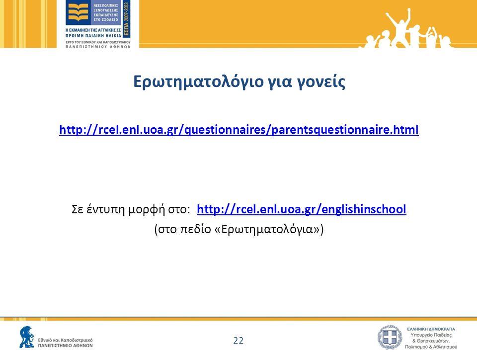 Ερωτηματολόγιο για γονείς http://rcel.enl.uoa.gr/questionnaires/parentsquestionnaire.html Σε έντυπη μορφή στο: http://rcel.enl.uoa.gr/englishinschoolhttp://rcel.enl.uoa.gr/englishinschool (στο πεδίο «Ερωτηματολόγια») 22