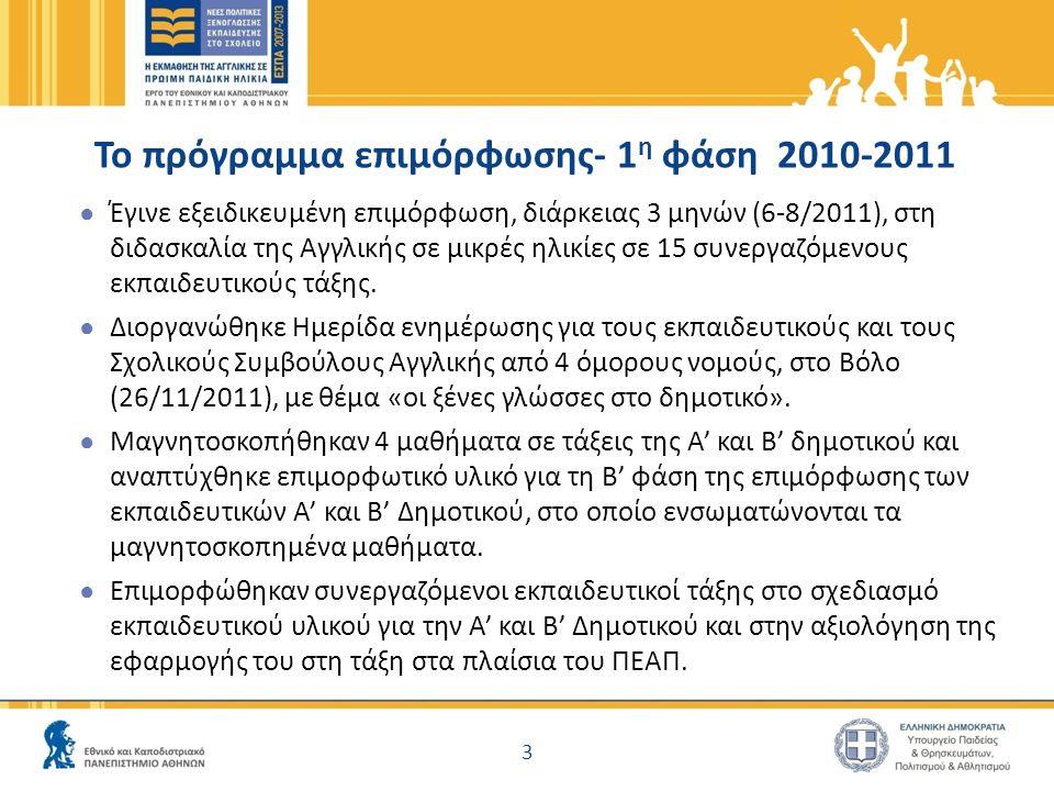 Το πρόγραμμα επιμόρφωσης- 1 η φάση 2010-2011 ● Έγινε εξειδικευμένη επιμόρφωση, διάρκειας 3 μηνών (6-8/2011), στη διδασκαλία της Αγγλικής σε μικρές ηλικίες σε 15 συνεργαζόμενους εκπαιδευτικούς τάξης.