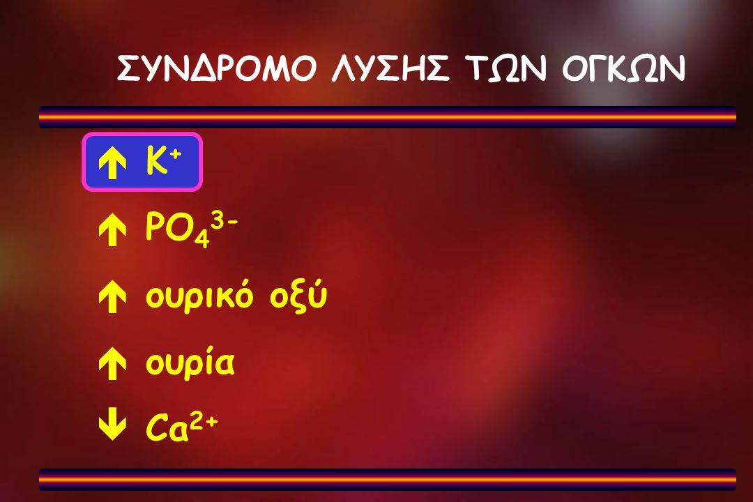 ΣΥΝΔΡΟΜΟ ΛΥΣΗΣ ΤΩΝ ΟΓΚΩΝ  Κ +  PO 4 3-  ουρικό οξύ  oυρία  Ca 2+