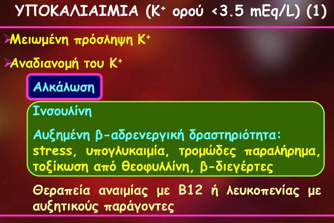ΥΠΟΚΑΛΙΑΙΜΙΑ (Κ + ορού <3.5 mEq/L) (1)  Μειωμένη πρόσληψη Κ +  Αναδιανομή του Κ + Αλκάλωση Ινσουλίνη Αυξημένη β-αδρενεργική δραστηριότητα: stress, υ