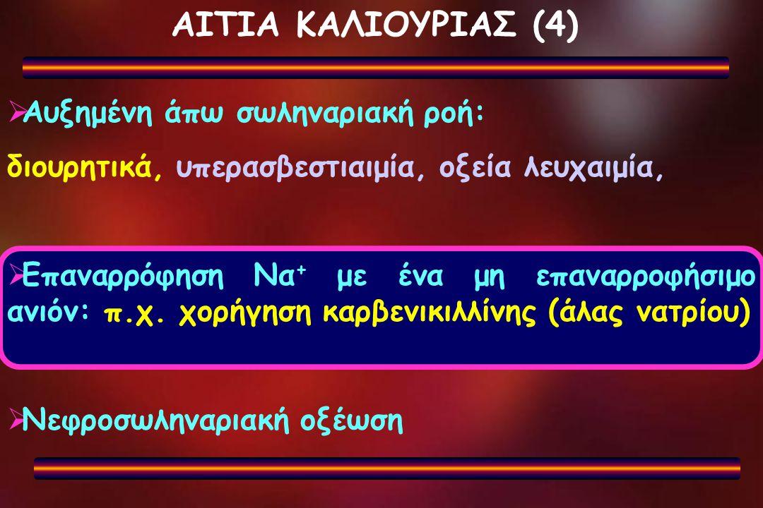 ΑΙΤΙΑ ΚΑΛΙΟΥΡΙΑΣ (4)  Αυξημένη άπω σωληναριακή ροή: διουρητικά, υπερασβεστιαιμία, οξεία λευχαιμία,  Επαναρρόφηση Να + με ένα μη επαναρροφήσιμο ανιόν