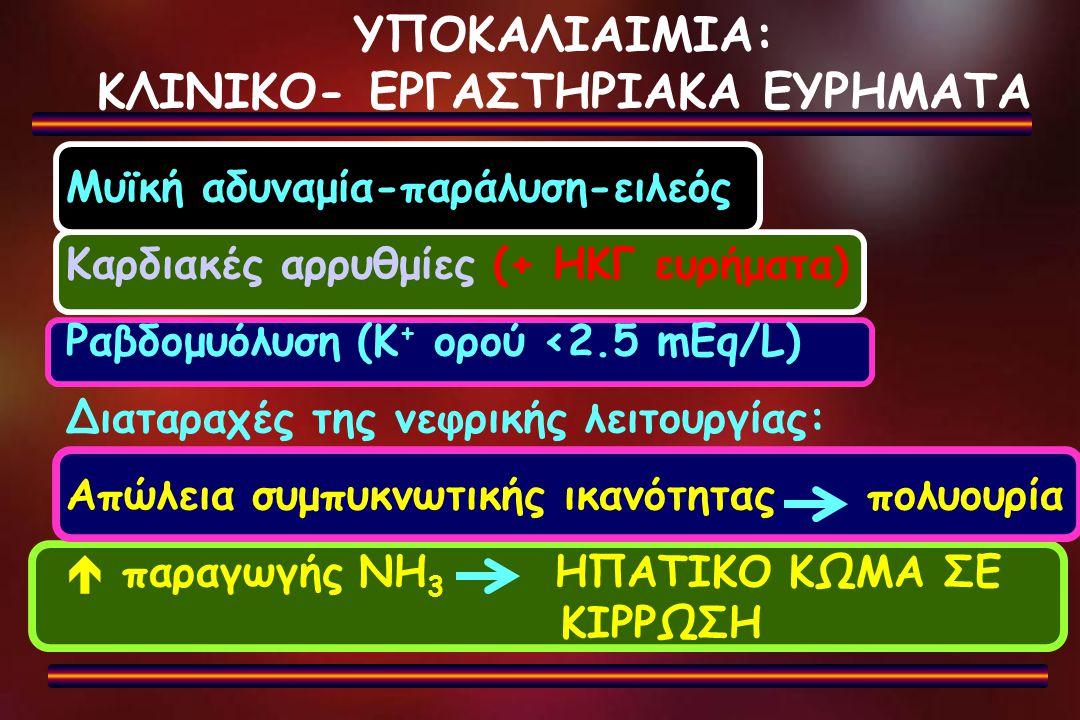 ΥΠΟΚΑΛΙΑΙΜΙΑ: ΚΛΙΝΙΚΟ- ΕΡΓΑΣΤΗΡΙΑΚΑ ΕΥΡΗΜΑΤΑ Μυϊκή αδυναμία-παράλυση-ειλεός Καρδιακές αρρυθμίες (+ ΗΚΓ ευρήματα) Ραβδομυόλυση (Κ + ορού <2.5 mEq/L) Δι